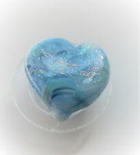 Studio Artist Charlotte Eagleton-Behrens Blue Dichroic Heart Fused Glass Button