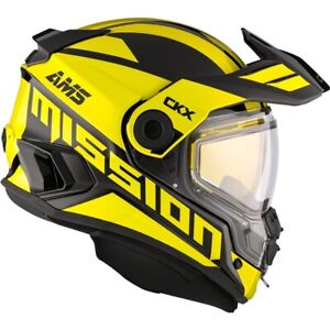 CKX Mission AMS Electric Heated Shield Snowmobile Helmet Space Yellow Medium
