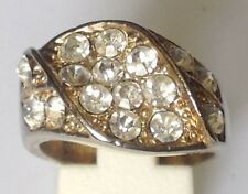 bague déco relief couleur or rhodié solitaire diamant brillance T.56