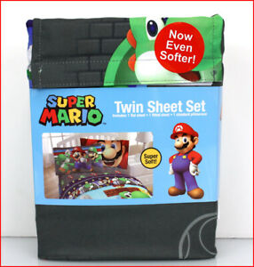 Nintendo SUPER MARIO Sheet Set - Mario Luigi & Friends -Gray & Blue TWIN 🌟NEW🌟