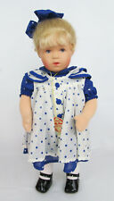 "Kathe Kruse Germany 14"" Blonde Leila Girl Blue Polka Dot Dress Doll - MINT w/Box"