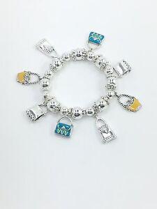 Handbag, Purse Charm Stretch Bracelet, Silver Plated, Style 2