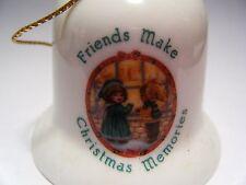 "Russ Berrie Co Bell 2"" Porcelain Friends Make Christmas Memories No.1909 Vintage"