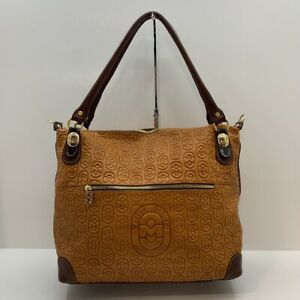 Marino Orlandi Burnt Sienna & Brown Embossed Leather Large Tote Made in Italy