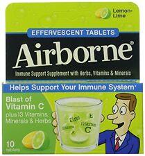 4 Pack - Airborne Effervescent Tablets Lemon-Lime 10 Tablets Each