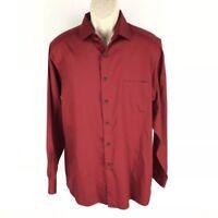 Van Heusen Men's Dress Shirt Regular Fit Red Lux Sateen Wrinkle Free 16 34/35