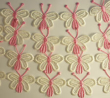 1 x METRE PRETTY PINK & WHITE BUTTERFLY TRIM ~ 18 BUTTERFLIES ~ AUSSIE SELLER