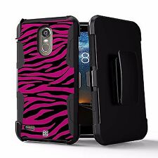 For LG Stylo 3/ 3 Plus LS777 Armor Tuff Defender Clip Case Hot Pink Zebra Design