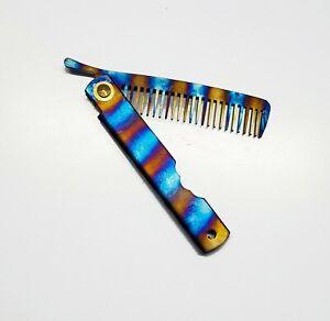 V2 Tiger Anodized Titanium EDC Comb Hair Beard, Folding portable Tiger Stripe