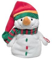 2003 TY PLUFFIES Large Plush MELTON SNOWMAN Xmas Beanie Baby Winter Stuffed Toy
