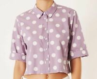 Topshop ladies girls blouse top lilac white polka dot NEW Size 6 8 10 12