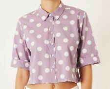 Topshop ladies girls trendy blouse lilac white polka dot NEW Size 6,8,10,12, NEW