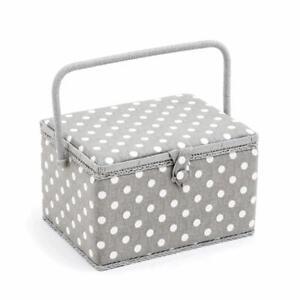 HobbyGift Large Sewing Basket Grey Polka Dot grey Spot