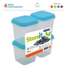 4x 200 ml privo di BPA plastica contenitore per cibo Storage Box Coperchio Vasca Snack parte Set