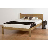 Maya Bed Frame - Small Double 4ft - Distressed Waxed Pine Headboard Bedroom Wood