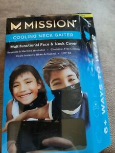 Mission - Cooling Neck Gaiter - Youth 8+ - One Size - Black - NEW!