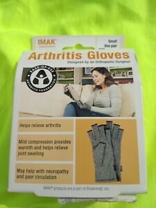 BrownMed IMAK Arthritis Pain Relief Compression Half Finger Gloves Size Small
