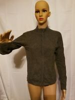 Just Cashmere By Forte Wool Blend Sweater Full Zip Long Sleeve Womens Medium