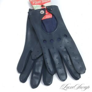 NWT DEADSTOCK Vintage 1960s 70s Wells Lamont Japan Navy Blue Driving Gloves OSF