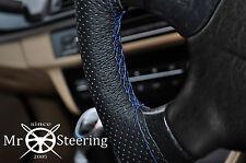 Para Peugeot 206 Cubierta del Volante Cuero Perforado Azul Real doble puntada