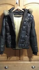 Genuine Quilted BABY PHAT Brown Leather Jacket/Puffer Size: L w/ BROKEN ZIPPER