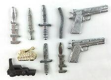 10 CLUE Game Vintage Pieces Toy Metal Plastic Guns Swords Knives Tanks Pipe