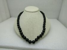 """22"""" Black Beaded Necklace, 10mm knotted between,  Red Box with Chinese Lettering"""