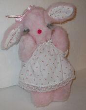 """Vtg Baby Plush Lamb Sleepy Pink Stuffed Animal Toy 11"""" Rosebud Long Eyelashes"""