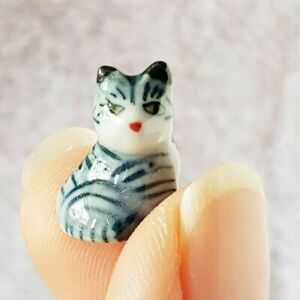 Dollhouse Miniatures Ceramic Figurine Mini Tiger Cat Kitten Tiny Animals Pets
