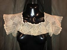 Antique Vintage Hand Crochet Large Cotton Lace Bodice Camisole Nightgown Yoke