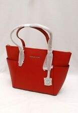 NWT Michael Kors Jet Set Item East West Top Zip Saffiano Leather Tote Scarlet