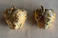 """Vintage Weeping Bright Gold Apple Planter 5"""" Wall Pocket Sconces Vase 24kt MCM"""