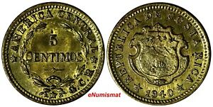Costa Rica Brass 1940 5 Centimos UNC KM# 151