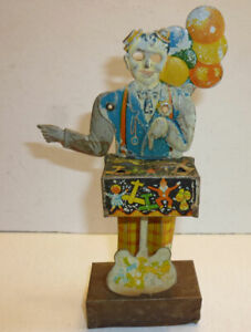 """Early tin clown wind-up toy, parts or rest, see pics, maker unknown, 6-1/2"""" tall"""
