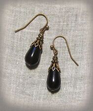 BRASS FILIGREE BLACK GLASS SMALL TEAR DROP EARRINGS EDWARDIAN GOTHIC VICTORIAN
