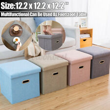 "12"" Cube Folding Storage Ottoman with Handles Fabric Collapsible Footstool US"