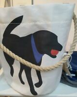 Sea Bags Recycled Sails Black Lab Dog Maine Bucket Bag Tote Tags Attached!