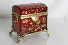 Coffret à bijoux en verre émaillé couleur rubis XIX eme jewerly box