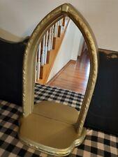 Vintage Home Interior Mirror Large shelf Hang Sit on Dresser Gold Nice