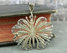 Signed AC Sterling Silver Filigree Butterfly Pendant