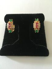 Ruby Emerald Topaz Clustered Hoop Earrings