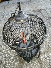 Vintage Cast Iron Metal Bird Cage with bolted dish trays