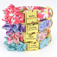 Fashion Flower Pet Dog Collars Nylon Personalised Name ID Metal Buckle Engraved
