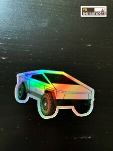 Tesla Cybertruck holographic sticker. Laptop decor. iMac, iPhone sticker.