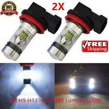 2X 100W H11 H8 Super High Power 6000K Xenon White LED Fog Driving Light Bulbs