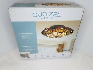 Quoizel Lighting Ascension Ridge 2-light Flush Mount Tiffany Style Glass Bronze