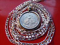 """1920-1943 MEXICO 720 SILVER PRIDE Eagle Coin Pendant on 30"""" 925 Silver Chain"""