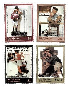 St. Vincent 2004 - SC# 3234-7 Norman Rockwell Art, Post - Set of 4 Stamps - MNH