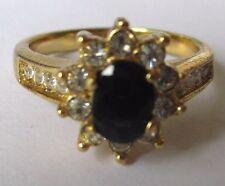 bague fiançailles bijou ancien plaqué or saphir foncé cristaux diamant T.56 *471