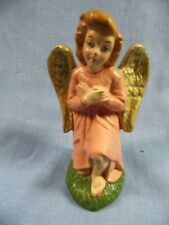 """VINTAGE PAPER MACHE ITALY NATIVITY PINK 4"""" WITH EXPOSED KNEE ANGEL"""